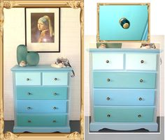Meticulously painted in aquas and blues by Shabby Duck Studio.com.au Paint by Vintage Paint, NZ in Bluestone and Retro Blue with Shabby Duck own colour mixes. New hardware in glass. For Sale - Busselton, Western Australia via our web site