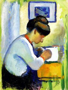 August Macke (1887-1914) -7 In 1912 gaat Macke samen met Marc naar Parijs, daar bezoekt hij onder andere Robert Delaunay. De invloeden van het kubisme en het futurisme maken dat Macke zijn werken strenger in gaat delen, de vlakken worden duidelijker in kleur van elkaar gescheiden.