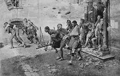 Un episodio dramático y patético en los famosos cuatro días de la retirada de Mons. Una lluvia de bombas cae sobre un refugio de la Cruz Roja de Bélgica