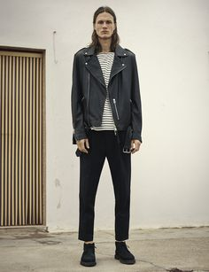 AllSaints Men's May Lookbook Look 5: Kahawa Leather Biker, Minala 3/4 Crew T-shirt, Tallis Trouser, Juno Boot