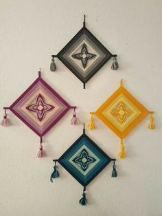 4 Vintage Ojo de Dios God s Eye Chakra colors Anthro Urban Outfitters Vintage Ojo de Dios God's Eye yarn wall hangings One black, one yellow, one magenta, one teal Excellent condition Wall Hanging Crafts, Yarn Wall Hanging, Wall Hangings, Weaving Projects, Weaving Art, Diy Projects, Diy Crafts For Adults, Diy Arts And Crafts, Yarn Crafts