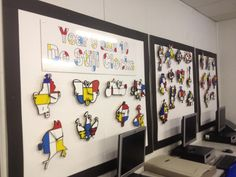 Destijl clocks from a school in Leeds, UK... seperate pieces laser cut on to MDF backgrounds.  Don't know name of school to credit - sorry!
