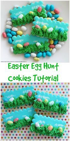 Easter Egg Hunt Cookies - an adorable Easter cookie decorating tutorial with video!