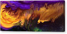 Gold Rush Abstract Art Horizontal Fluid Painting By Kredart Canvas Print by Serg Wiaderny