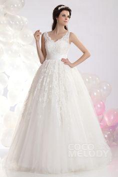 Stylish Princess V-Neck Floor Length Tulle Wedding Dress CWLF1301A