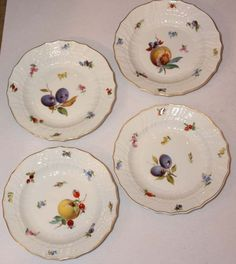 Set of Ten Meissen Porcelain Fruit Plates | From a unique collection of antique and modern dinner plates at http://www.1stdibs.com/furniture/dining-entertaining/dinner-plates/