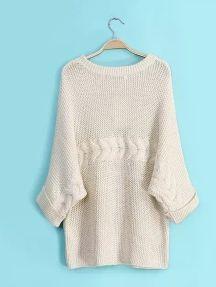 Beige Half Sleeve Loose Knit Sweater