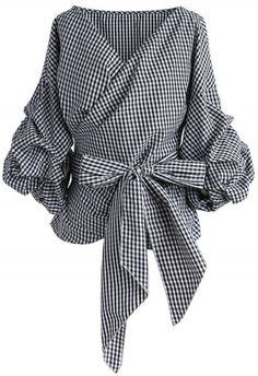 Enchanting Echo Wrapped Top in Gingham - Tops - Retro, Indie and Unique Fashion Wrap Shirt, Wrap Blouse, Shirt Vest, Bow Shirts, Shirt Blouses, Vintage Tops, Unique Fashion, Fashion Women, Mode Outfits