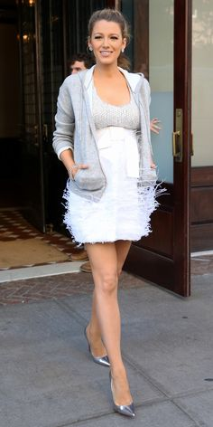 Blake Lively Stuns in a Sparkly Mini Dress and a Hoodie in N.Y.C. from InStyle.com in Michael Kors Collection