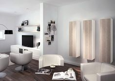 An elegant living space which features custom wall elements, floating shelves and a spacious entertainment unit Dining Furniture, Bedroom Furniture, Entertainment Units, Media Storage, Bespoke Furniture, Custom Wall, Floating Shelves, Living Spaces, Custom Design