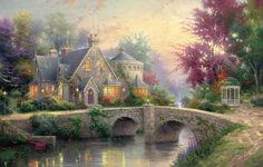 Обои картинки фото lamplight manor, thomas kinkade, painting, art, bridge, colorful