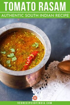 Tomato Rasam with step by step photos. This is an easy, tangy and tasty tomato rasam made without tamarind and rasam powder. South Indian Vegetarian Recipes, Best Vegan Recipes, South Indian Food, Veg Recipes, Indian Food Recipes, Cooking Recipes, Methi Recipes, Cooking Dishes, Vegetarian Meals