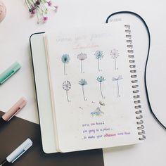 Bullet journal dandelion drawing ideas. | @mylinhcam