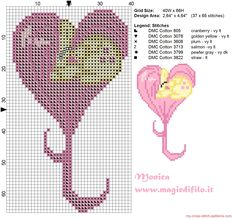 Fluttershy heart cross stitch pattern 40x66 6 colors