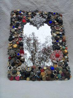 Button decorated mirror.