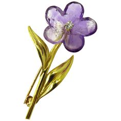 1960s Emis Carved Amethyst Diamond Gold Flower Pin | From a unique collection of vintage brooches at https://www.1stdibs.com/jewelry/brooches/brooches/
