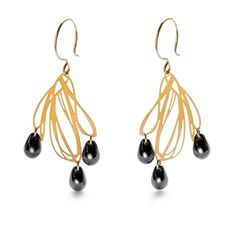 $88.00 - Moth pendant earrings with artisan glass drops - eco modern jewelry