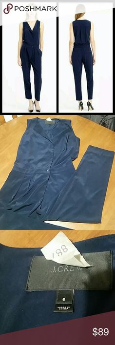 """J. Crew sleeveles trench jumpsuit romper navy Excellent like new condition. 100% polyester. Functioning side pockets. Back pockets for looks.  Bust 38"""" Shoulders 12 1/2""""  Waist 31"""" Hips 19"""" Length 53 1/2"""" J. Crew Pants Jumpsuits & Rompers"""