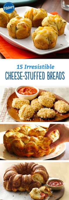 15 Irresistible Cheese-Stuffed Breads - We believe you can never have too much cheesy bread! Round out your meal with pull-aparts and cheesy breads that just beg to be dipped, dunked and sauced. Jalepeno Chicken Recipes, Minced Chicken Recipes, Gourmet Recipes, Appetizer Recipes, Cooking Recipes, Bread Recipes, Cooking Stuff, Pilsbury Biscuit Recipes, Bite Size Appetizers