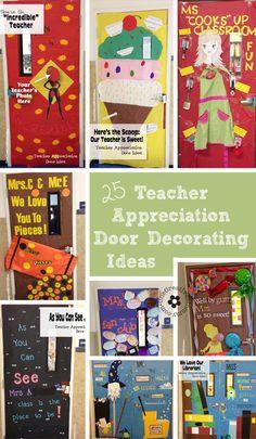25 Teacher Appreciation Door Ideas from OneCreativeMommy.com