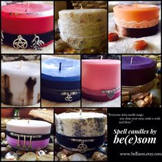 Cast your Spell with pure soy spell candles by be(e)som. Big Candles, White Candles, Pillar Candles, Candle Magic, Candle Spells, Candle Jars, Lavender Scent, Beeswax Candles, Goods And Services