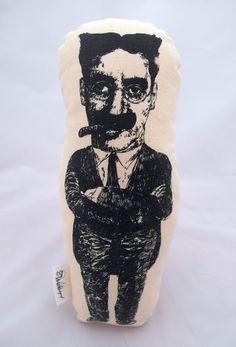 Groucho Marx handmade cotton plushie Groucho Marx, Plushies, Skull, Tattoos, Cotton, Handmade, Tatuajes, Hand Made, Stuffed Animals