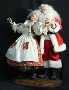 "Mr. and Mrs. Santa Claus, ""Eternal Love"" Heirloom Figures by Jack Johnston"