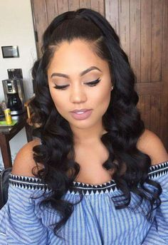 We love Ayesha Curry`s hair! So sweet and elegant yet bomb! Curly hair weave sew-in  Get this look  @ www.ShopBombHair.com