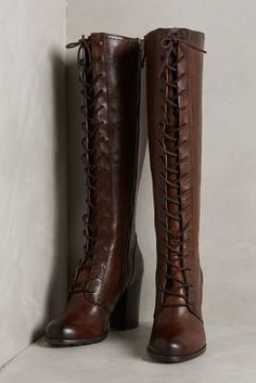 Frye Parker Tall Lace-Up Boots Brown Wedges  #anthrofave #anthropologie