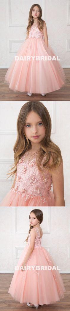 Tulle Applique Flower Girl Dresses, Round Neckline Flower Lovely Little Girl Dresses, D489 #flowergirldresses