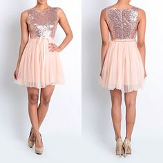 Affordable Short Sequin Rose Gold Bridesmaid dress Tulle Party Dress Prom Evening Homecoming