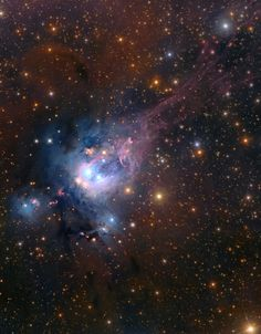 3,000 light-years away toward the royal constellation Cepheus, young suns still lie within dusty NGC 7129. Lovely bluish dust clouds that reflect the youthful starlight while compact, deep red crescent shapes are characteristic of glowing hydrogen gas shocked by jets streaming away from newborn stars. This composite image has revealed the faint red strands of emission at the upper right, likely supernova remnant and currently being analyzed by Bo Reipurth (Univ. Hawaii). (Subaru telescope)