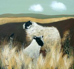 Lesley McLaren Blackies on Moorland Signed Limited Edition Print   Scottish Contemporary Art