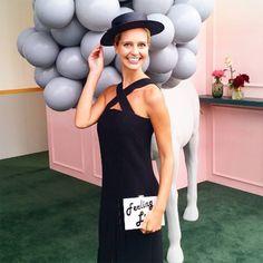 Olga Berg // Saasha burns wearing the 'Lucky' Pearlised Pod at Derby Day 2016 #olgaberg #springracing #DerbyDay