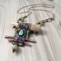 Nomadic Scroll Necklace, Silk Wrapped Antler Necklace in Blue and Green with Jade