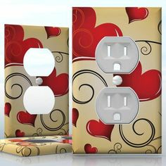 DIY Do It Yourself Home Decor - Easy to apply wall plate wraps | Bright Love  Red hearts on gold background  wallplate skin sticker for 1 Gang Wall Socket Duplex Receptacle | On SALE now only $3.95