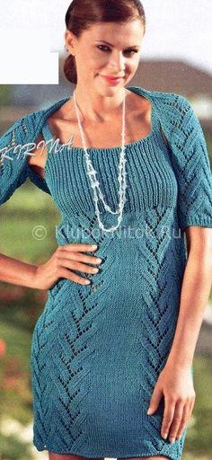 Синее платье и шраг | Вязание для женщин | Вязание спицами и крючком. Схемы вязания.