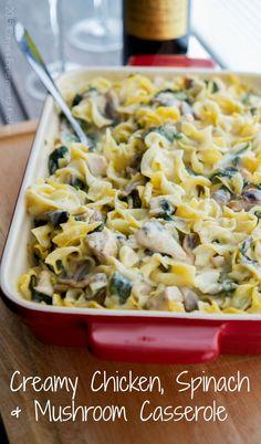 Creamy Chicken, Spinach & Mushroom Casserole   Carrie's Experimental Kitchen