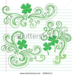 St Patricks Day Four Leaf Clover Sketchy Doodle Shamrocks Back to School Style Notebook Doodles Vector Illustration Design Elements on Lined...