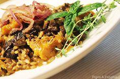 risoto integral com funghi, abóbora e cebola caramelizada | Blog Figos & Funghis