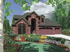 Exceptional beauty and comfort define this 4 bedroom home beginning will the grand brick entrance.  House Plan # 441138.