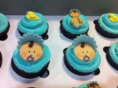 Full moon baby blue cupcakes