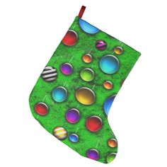 Colorful glass ornaments on a bright green christmas tree to really make your holidays pop. #zazzle #christmas