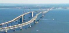 Why the Scariest Bridge in America is Giving Motorists Panic Attacks (Chesapeake Bay Bridge) Scary Bridges, Chesapeake Bay Bridge, Famous Bridges, Suspension Bridge, Covered Bridges, Sydney Harbour Bridge, Aerial View, Golden Gate Bridge