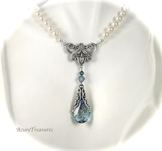 Crystal Ocean Blue Bridal Necklace, Hand Knotted Swarovski Pearl Necklace, Filigree Wrapped Teardrop Antiqued Silver Beach Wedding You may contact me at jodyhattaway@gmail.com