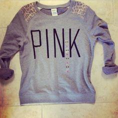 Victoria Secret Pink sweatshirt with leopard print shoulder patches