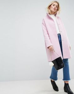 ASOS Oversized Coat in Wool Blend with Funnel Neck
