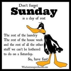 Sunday is a day of rest quotes quote days of the week sunday sunday quotes happy sunday sunday humor happy sunday quotes Sunday Humor, Happy Sunday Quotes, Good Morning Quotes, Funny Sunday, Rest Quotes, Work Quotes, Life Quotes, Daffy Duck Quotes, Morning Jokes