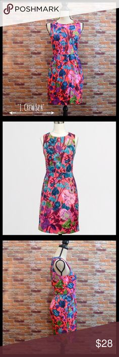 """J. Crew Pleated Floral Shift Dress J. Crew pleated floral shift dress in a size 4.  Has concealed back zipper and eye and hook closure.  Two side pockets.  Fully lined.  Seam detail on the waist and bodice.  Measures 17"""" armpit to armpit, 14 1/2"""" waist, and 33"""" in length.  100% cotton.  In excellent condition. J. Crew Factory Dresses Mini"""