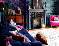 What a stunning before and after living room transformation, from an 80's peach explosion, to a vibrant, eclectic home.